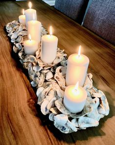 Oyster Shell Centerpiece {Custom Made} by PleasantlyHandmade on Etsy Oyster Diy, Oyster Shell Crafts, Oyster Shells, Sea Shells, Shell Centerpieces, Shell Decorations, Seashell Crafts, Beach Crafts, Beach Cottage Style