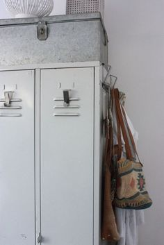 Great uses of old lockers in the mudroom.