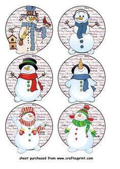 6 Christmas snowman toppers on Craftsuprint designed by Stephen Poore - 6 Christmas snowman toppers - Now available for download!