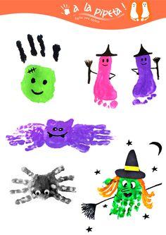Divertite haciendo formas de Halloween con las huellas de tus manos y pies!