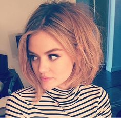 Lucy Hale long bob with highlights, 70s bump