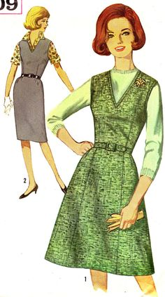Vintage Sewing Pattern 1960s Simplicity 5209 V-Neck Jumper or Sleeveless Dress with Flared or Sheath Skirt