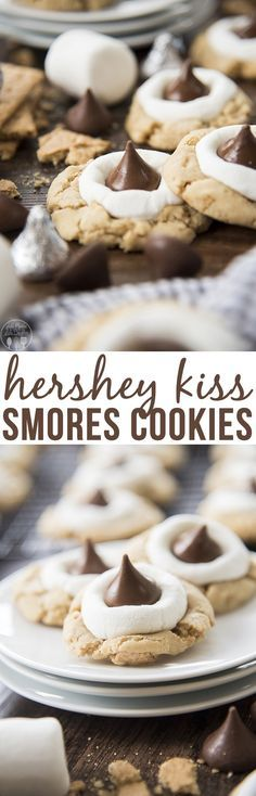 Hershey Kiss S'mores Cookies -- a graham cracker-filled cookie base + a gooey marshmallow + a chocolate kiss!