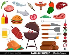 BBQ Clipart, Cookout Clipart, Barbeque Clipart, Party Food Clipart, Summer Clipart, Family Barbeque Clipart, Barbeque clipart barbecue BBQ