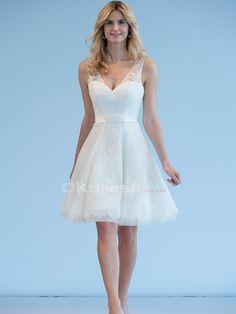 Superb V-neck Lace Short Wedding Dresses - by OKDress UK