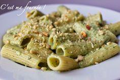 Rigatonis à la crème de basilic et au parmesan