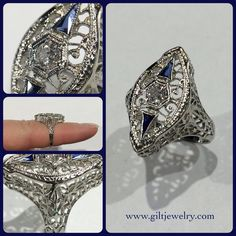 Now this is Art Deco filigree! Circa 1920 18k white gold with an old mine cut diamond and lab sapphires. $575. Call to purchase. #giltjewelry #artdeco #filigree #vintage #vintagering #bridal #engagement #statementring #fabulous
