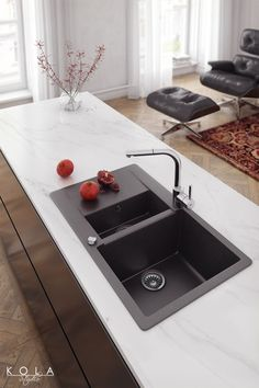 Image result for dark sink with white countertop