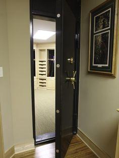 A safe room/gun vault. We will need this if we ever build a house! A safe room/gun vault. Gun Vault, Hidden Gun Rooms, Hidden Closet, Hidden Gun Safe, Hidden Panic Rooms, Gun Closet, Closet Safe, Room Closet, Master Closet