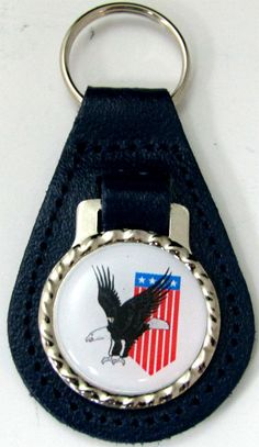 America Flag Banner & Eagle Blue Leather Key Fob Steel Ring FOB-0166