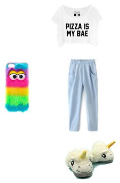 """""""Netflix, pizza, cats, unicorn slippers"""" by puppies-are-adorable54601 ❤ liked on Polyvore"""