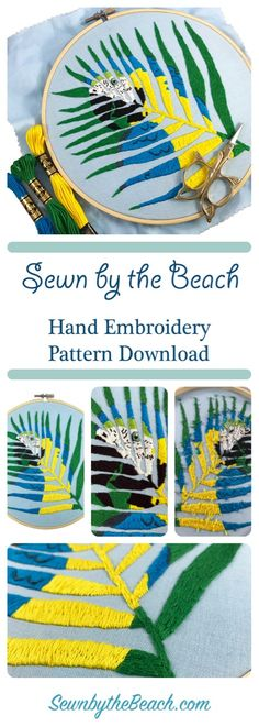Easy and beautiful hand embroidery pattern for DIY home decor. Tropical parrot hand embroidery pattern. PDF file