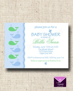 Printable Invitation Card - Whale Theme- Customized Baby Shower or Birthday. $8.00, via Etsy.
