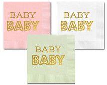 Baby Shower Napkins - Baby Napkins - Pink and Gold Baby Shower - Mint and Gold Baby Shower - Paper Napkins (EB3099BB) - set of 25 napkins
