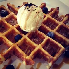 Waffles top with Pandan Ice Cream & Blueberries from Hatter Street Bakehouse & Cafe