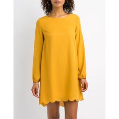 Charlotte Russe Scalloped-Trim Open-Back Shift Dress ($29) ❤ liked on Polyvore featuring dresses, mustard, mustard yellow dresses, mustard dress, open back long dresses, open back dresses and yellow dress