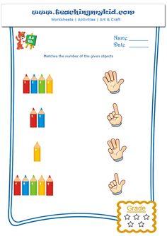 kindergarten worksheet – Count and Match – 1