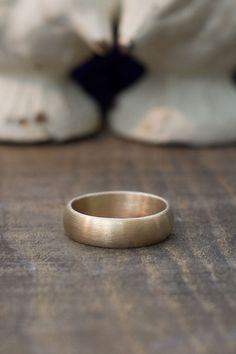 Men's Wedding Band  14k Gold Half Round Band  by BuffaloLucy