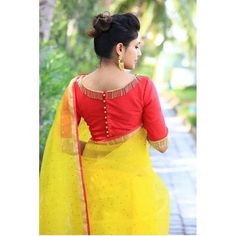 Best 9 PV 4255 : Yellow and shaded green. Price : Rs Shaded marble chifffon sari in beautiful colours of green and blue is finished with trendy golden danglers border. Unstitched blouse piece : Yellow zari embroidered bhutti work blouse piece a Blouse Designs High Neck, Designer Blouse Patterns, Fancy Blouse Designs, Bridal Blouse Designs, Pattu Saree Blouse Designs, Kurta Neck Design, Stylish Blouse Design, Lady Pirate, Pirate Wench