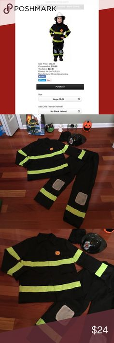 """4 PC Fireman 🚒 Costume Dress Up America 🚒Super awesome, machine washable, great quality costume. Originally this costume did not come with a helmut. I'm including as a bonus an adjustable, """"played with"""" nice quality helmut. So it includes pants, jacket, hood & helmut. I'm happy to measure upon request. 1st photo stock from web.   •Smoke free, hypoallergenic pet friendly home; we have a Morkie   •No props included Dress Up America Costumes Halloween"""
