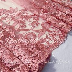 Mauve Embroidered Double Scalloped Wedding Lace by EnchantedFabric  https://www.etsy.com/shop/EnchantedFabric