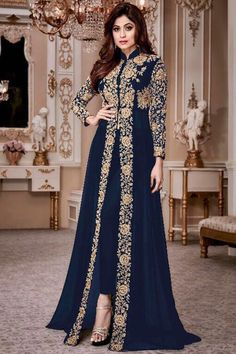 Attractive Blue Color Georgette Heavy Gold Embroidered Traditional Partywear Pant Style Salwar Suit