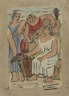 Pablo Picasso (1881-1973) Scène mythologique, trois femmes à la fontaine