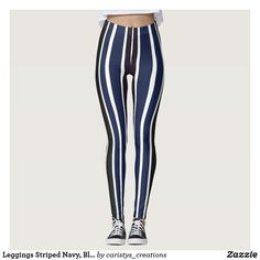 Leggings Striped Navy, Black and White White Leggings, Striped Leggings, Summer Wear, Summer Outfits, Fitness Wear Women, Travel Wear, Cruise Wear, Fitness Clothing, Occasion Wear