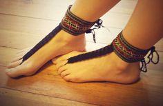 Beautiful Aztec Barefoot Sandals, Hippie Gladiator Style.