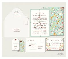 FLORAL WEDDING INVITATIONS - Printable Designs - Mint Green Pink - Modern Graphic Print. $45.00, via Etsy. http://www.etsy.com/listing/97606015/floral-wedding-invitations-printable?