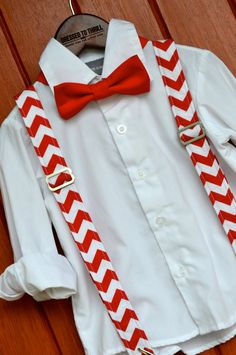 Dressed to Thrill - 2014 Christmas Collection - Red & White Chevron Suspenders with Solid Red Bowtie www.idresstothrill.com