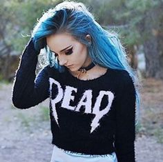 59 ideas for fashion punk grunge blue hair - < hair ideas > - Grunge Goth, Hipster Grunge, Nu Goth, Grunge Style, Soft Grunge, Grunge Hair, Goth Style, Pastel Goth Fashion, Punk Fashion