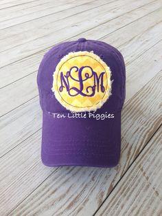 Baseball Cap Yellow Chevron with Purple  Raggy Patch Monogram on Etsy, $16.00