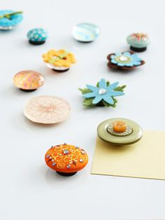 Scrap-supply magnets! Layer buttons, crafts scraps and other fun things on top of a magnet! Great gift idea too!