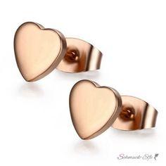 1 Paar Ohrstecker Herz aus 316L Edelstahl rosegold eloxiert