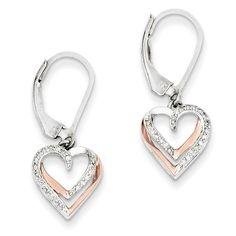 Sterling Silver & 14k Rose Gold Diamond Heart Earrings QE10976