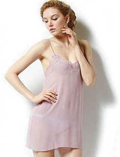 Sangluo Women's Pure Mulberry Silk Chemise Sleepwear Nightgown Set Violet