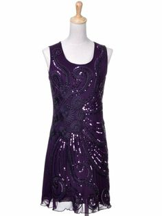Anna-Kaci S/M Fit Purple Flapper Style Flower and Vine Sequined Party Dress: (dress for Mardi Gras) (What to wear - Mardi Gras)