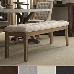 Elegant and versatile, this bench offers extra seating and comes upholstered in fabric. Deep tufts add a hint of elegance to accommodate any room's décor. This bench provides extra seating making it a...