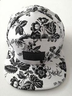 18eff7422af Black and white  snapback Bone Floral