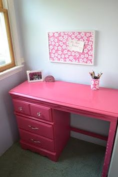 Girls Desks girls desk painted and distressed with a stencil top, painted