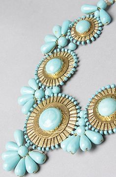 The The Medallion Bib Necklace in Turquoise by *Accessories Boutique