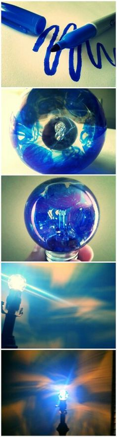 Draw on a clear lightbulb with any color sharpie and make cool designs on your wall!