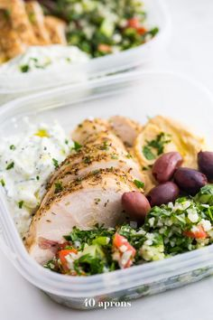 This Greek healthy meal prep recipe is epic: cauliflower rice tabbouleh, tender seasoned chicken breasts, hummus or baba ganoush, kalamata olives, and a rich, garlicky tzatziki. This healthy meal prep recipe will have you looking forward to lunch all morning! It's also a Whole30 meal prep recipe and paleo meal prep recipe, too, when you sub coconut cream or coconut yogurt for the yogurt. This is seriously SUCH a perfect healthy meal prep recipe.