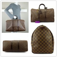 #LV Keepall 50 handluggage damier ebene canvas with leather gold hardware like new conditions ref.code-(BVECL-2)