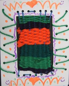 Weaving with cardboard, with holes for the yarn-- and lacing on the sides
