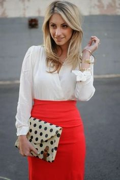 White blouse and pencil skirt style.