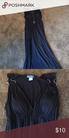 Maxi dress Navy blue cotton maxi dress with built in bra cups and metal details at the shoulders. This dress is so versatile.  It can be dressed up for a summer wedding or dressed down for a BBQ mon amie Dresses Maxi