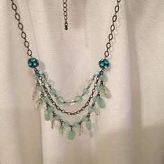 Teal Necklace & Earrings Teal necklace and earrings set. Jewelry