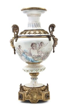 Sevres Style Porcelain and Gilt Bronze Mounted Urn